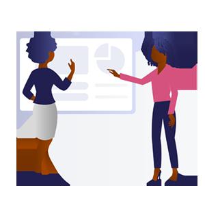 Black women using a whiteboard. (Illustration by BlackIllustrations.com)